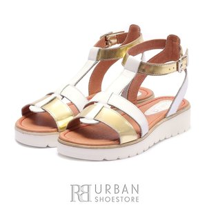 Sandale cu talpa joasa dama din piele naturala Leofex - 151 Alb -Auriu Box