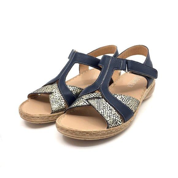 Sandale cu talpa joasa dama din piele naturala, Leofex - 152 Blue Sarpe