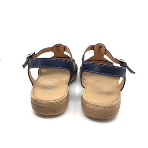 Sandale cu talpa joasa dama  din piele naturala, Leofex - 161-1 Blue Box Sarpe