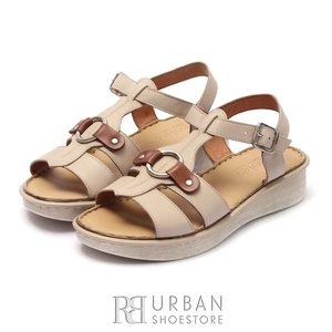 Sandale cu talpa joasa dama din piele naturala Leofex- 161-1  Taupe