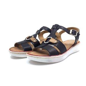 Sandale cu talpa joasa dama din piele naturala, Leofex  - 161 Blue + camel box