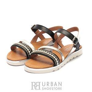 Sandale cu talpa joasa dama din piele naturala Leofex- 208 Negru Argintiu