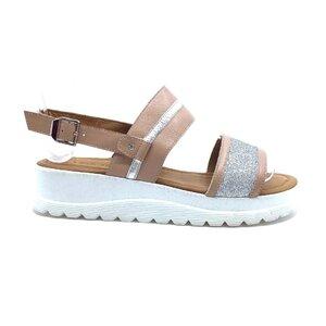 Sandale cu talpa joasa dama din piele naturala,Leofex - 210-1 Taupe box+sclipici