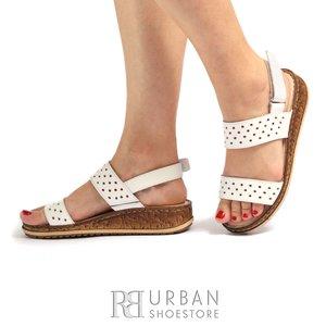 Sandale cu talpa joasa dama din piele naturala, Leofex- 212 Alb