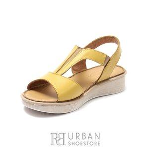 Sandale cu talpa joasa dama din piele naturala, Leofex - 215 Galben Box