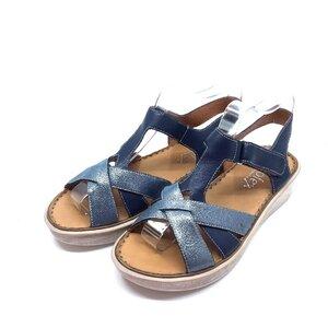 Sandale cu talpa joasa dama din piele naturala, Leofex - 216 Blue argintiu sidefat