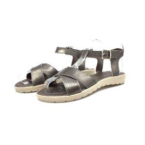 Sandale cu talpa joasa din piele naturala - 505 gri inchis box sidefat