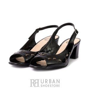 Sandale cu toc dama din piele naturala 0116-8 Negru- Auriu- Lac