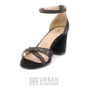 Sandale cu toc dama din piele naturala -1017 negru cu mozaic velur cu dungi aurii