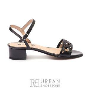Sandale cu toc dama din piele naturala - 140/12 Negru Box Lac