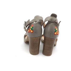 Sandale cu toc dama din piele naturala brodate, Leofex - 130 Taupe