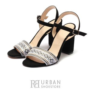 Sandale cu toc dama din piele naturala cu motiv traditional  - 937-12 Negru Velur