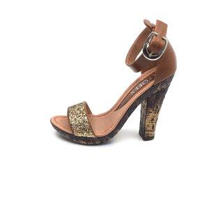 Sandale cu toc dama din piele naturala, Leofex - 039-2 maro auriu