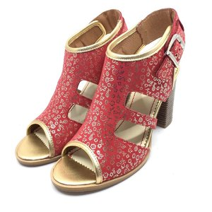 Sandale cu toc dama din piele naturala, Leofex - 111 ROZE