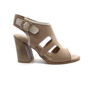Sandale cu toc dama din piele naturala,Leofex-111 Taupe Box