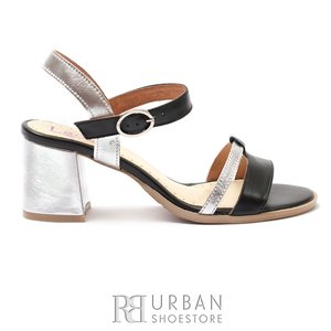 Sandale cu toc dama din piele naturala, Leofex - 127-2 Negru-Argintiu Box