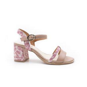 Sandale cu toc dama din piele naturala, Leofex - 127-2 Roz box