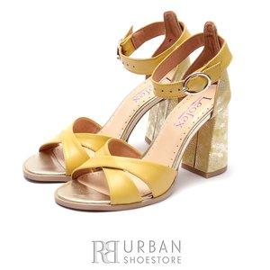 Sandale cu toc dama din piele naturala Leofex- 148 Galben