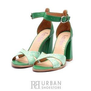 Sandale cu toc dama din piele naturala Leofex- 148 verde