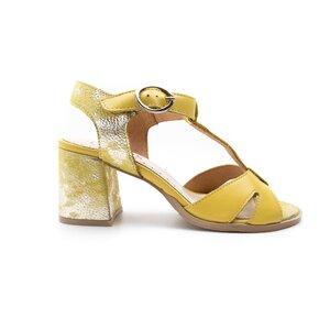 Sandale cu toc dama din piele naturala,Leofex-156 Galben Box Sidefat
