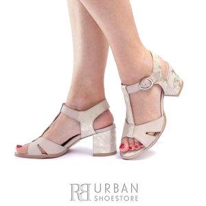 Sandale cu toc dama din piele naturala Leofex- 156 Taupe Auriu