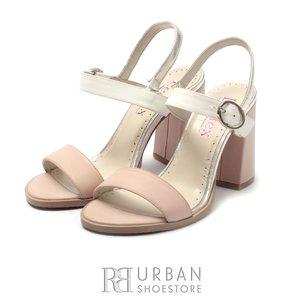 Sandale cu toc dama din piele naturala, Leofex - 222 Roz cu Alb Box