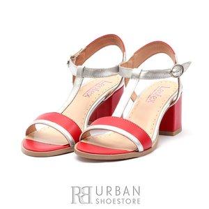 Sandale cu toc dama din piele naturala, Leofex - 227 Rosu cu Argintiu Box