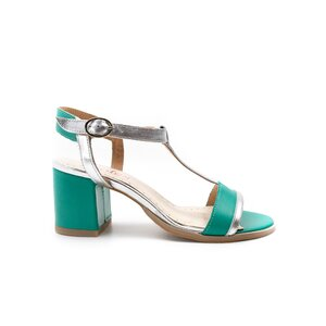 Sandale cu toc dama din piele naturala, Leofex - 227 Verde + argintiu box