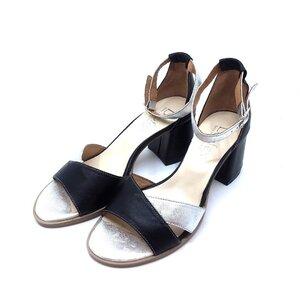 Sandale cu toc dama din piele naturala Leofex- 228 Negru-Argintiu