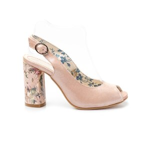 Sandale cu toc dama din piele naturala, Leofex - 250 nude metalizat