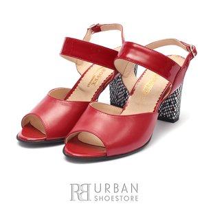 Sandale cu toc dama din piele naturala Leofex- 838 Rosu Box