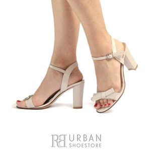 Sandale cu toc dama din piele naturala sidefata- 783/7  Bej Sidef