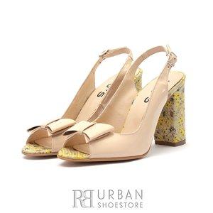 Sandale cu toc elegante dama din piele naturala- 028/1LB Bej Lac