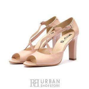 Sandale cu toc elegante dama din piele naturala - 028 Nude Box Sidefat