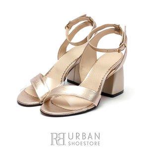 Sandale cu toc elegante dama din piele naturala- 0491 Auriu Box
