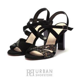 Sandale cu toc elegante dama din piele naturala - 1317-15 Negru Velur