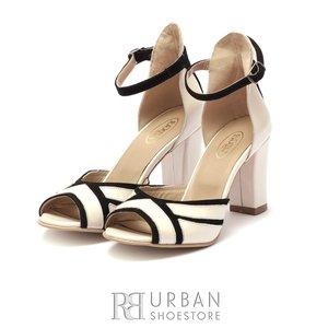 Sandale cu toc elegante dama din piele naturala - 1968 Crem Negru