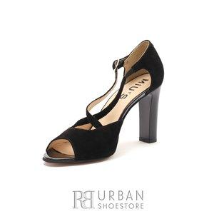 Sandale cu toc dama din piele naturala - 028/CN Negru Velur