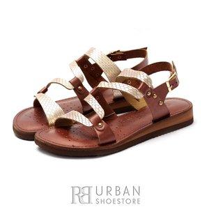 Sandale dama din piele naturala - 84 Bronz Maro Metalizat  Box