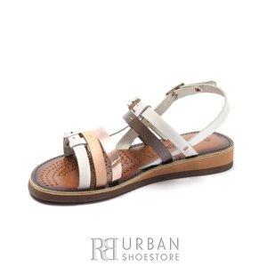 Sandale dama din piele naturala - DNL39 Alb cu Multicolor Metal