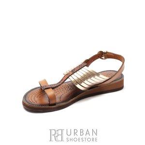 Sandale dama din piele naturala - Eva18 Bronz Maro Metalizat Box