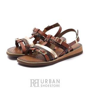 Sandale dama din piele naturala - Eva39 Bronz Maro Box