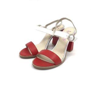 Sandale dama din piele naturala Leofex - 222 Rosu cu Alb Box