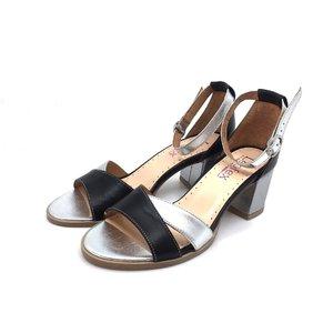 Sandale dama din piele naturala Leofex- 228 Negru-Argintiu