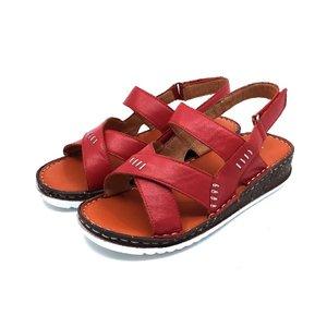 Sandale dama din piele naturala Leofex-Mostra Olimpia Rosu Box