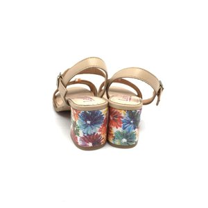 Sandale dama elegante din piele naturala -127-2 Bej Flori Box