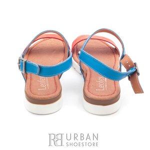 Sandale de piele naturala 043 portocaliu-bluemarin box