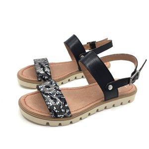 Sandale cu talpa joasa dama din piele naturala, Leofex - 043 Zebra Negru Box