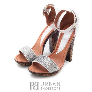 Sandale din piele naturala - 039-2 alb argintiu