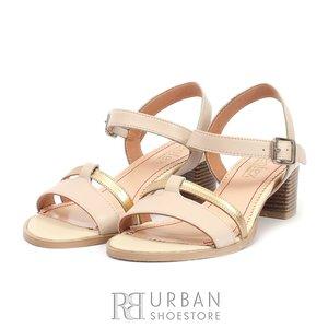 Sandale din piele naturala - 127-1 Bej - Auriu